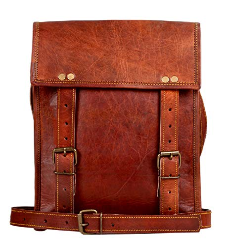- Leather Satchel iPad Tablet Bag - Leather Saddle Bag Purse - Small iPad Shoulder Bag for Men and Women (11 inches, Brown)