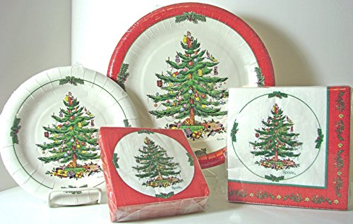 Spode Christmas Tree Paper Plates u0026 Napkins 144 Pcs Red Border & Spode Paper Plates. Spode Blue Italian Coated Paper Luncheon Dessert ...