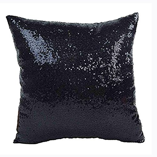Aremazing Solid Color Glitter Sequins Home Office Decorative Pillowcase Throw Pillow Cushion Cover 16 x 16 Inches (Black)
