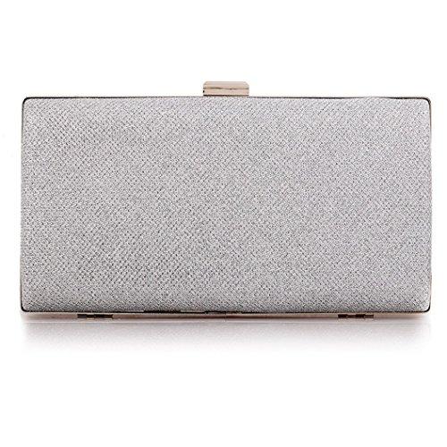 Silver Solid Handbag (Womens Vintage Envelope Clutch Silver Evening Handbag For Cocktail/Wedding/Party (Silver))