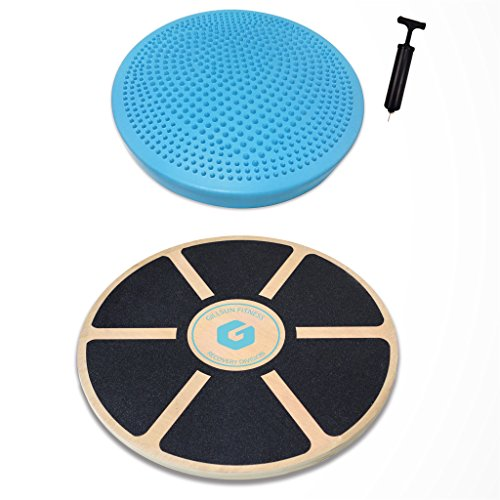 Balance Board Set Includes Premium Wooden Balance Board and Wobble Cushion w/ Air Pump. Ideal for Fitness, Injury Rehab, Physical Therapy, Core Training, Sit and Stand Desk, and Stability Excercises