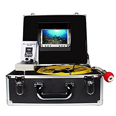 """Drain Pipe Sewer Inspection Camera ,Anysun Plumbing Camera Sony CCD 7""""Color LCD Monitor 20 Meter Endoscopy Snake Camera Professional Industrial CCTV Plumbing Video Equipment."""