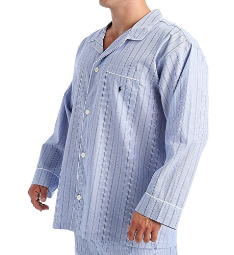 Polo Ralph Lauren Big Man Woven Cotton Long Sleeve Pajama Top (RY23) 2XL/Stripe/Cruise Navy (Stripe Woven Pajama Top)