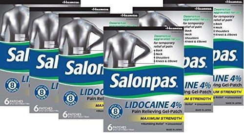 Salonpas LIDOCAINE Special 6 PACK Pain Relieving Maximum Strength Gel Patch! by Salonpas