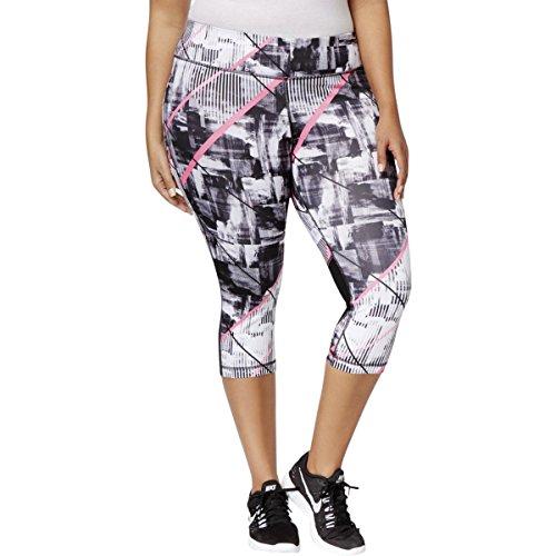 Ideology Womens Plus Stretch Printed Crop Leggings Black 2X