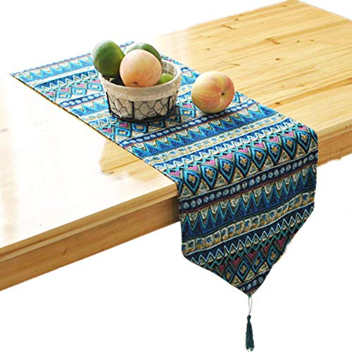 - KEPSWET Cotton Hemp Blue Stripe Bohemia Table Runner 12 x 70 inch, Double Layer Reversible Geometric Doily, Dining Coffee Table Home Decorations