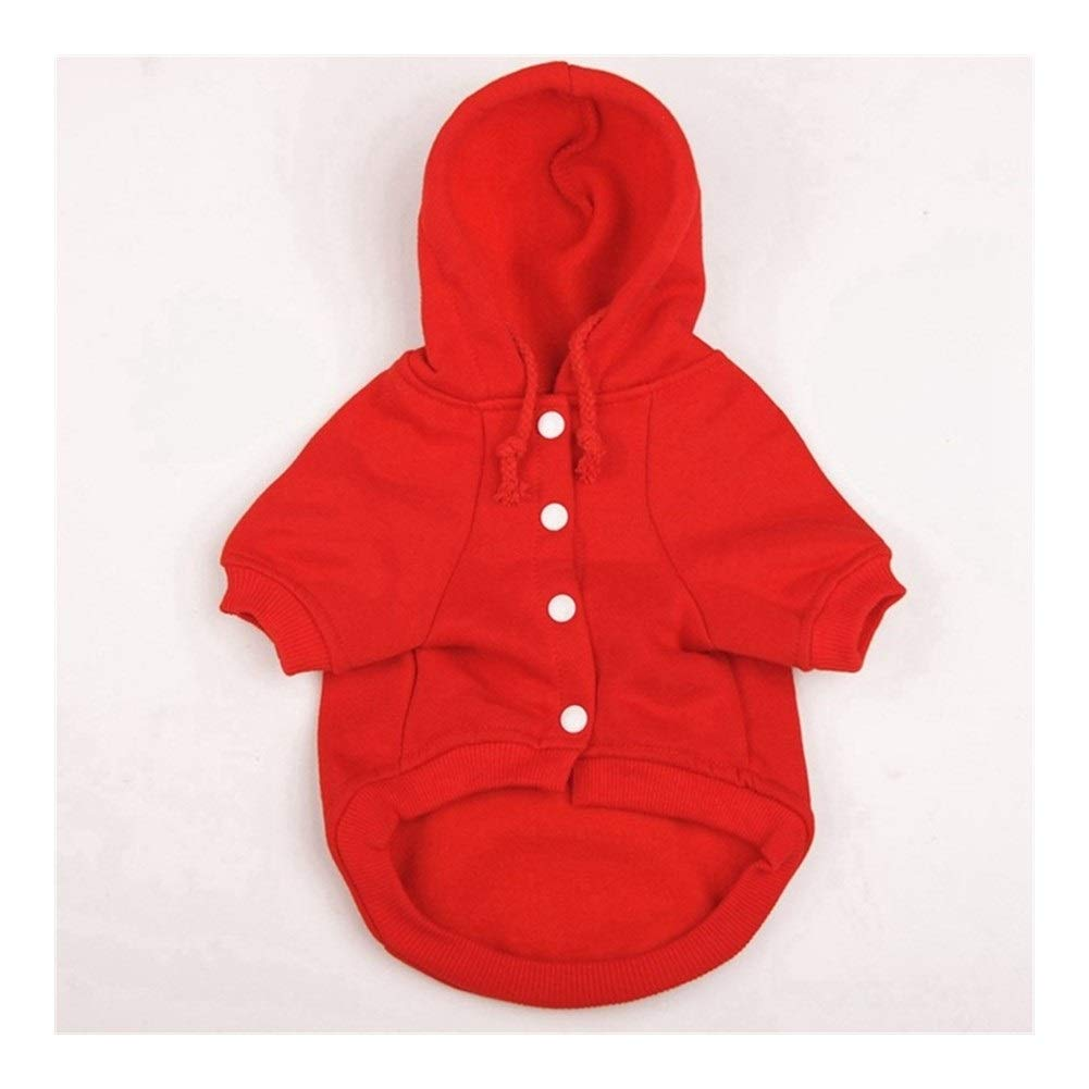 LovelyPet Pet Clothes Autumn and Winter Pet Fleece Hooded Sweater Pet Dog Clothes Winter Hooded Jacket (Color : Red, Size : XS)