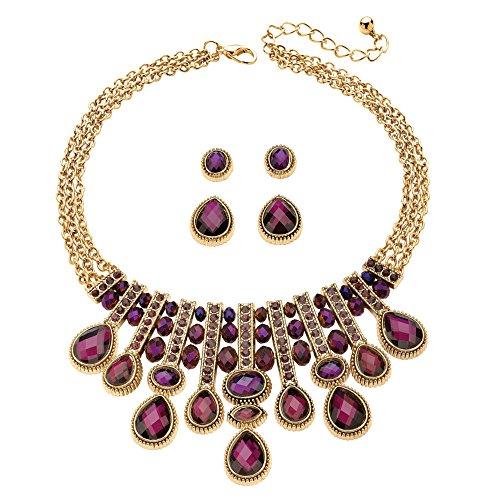 Amethyst Bib - Simulated Purple Amethyst Gold Tone Necklace and 2-Pair Stud Earrings Set 18