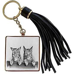 3dRose Taiche - Illustration - Kittens - Two Kittens- moggie, tabbies, tabby cat, tabby cat, pet portrait, new pet, cat, cats, kitten, pet - Tassel Key Chain (tkc_78693_1)