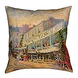 ArtVerse Vincent Van Gogh Restaurant De La Sirene x 14'' Pillow-Faux Linen (Updated Fabric) Double Sided Print with Concealed Zipper & Insert