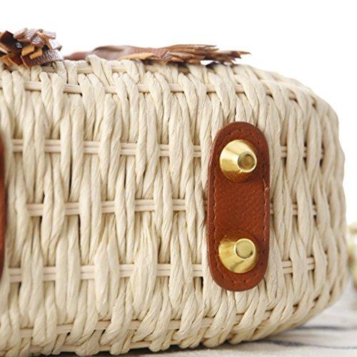 à de les main Sac demi sac yunt bambou pour tout sac fourre main tissé fourre à sac à de à sac de lune en bandoulière tout Beige bandoulière de tressé voyage paille la plage Sac femmes Tnnqdxg