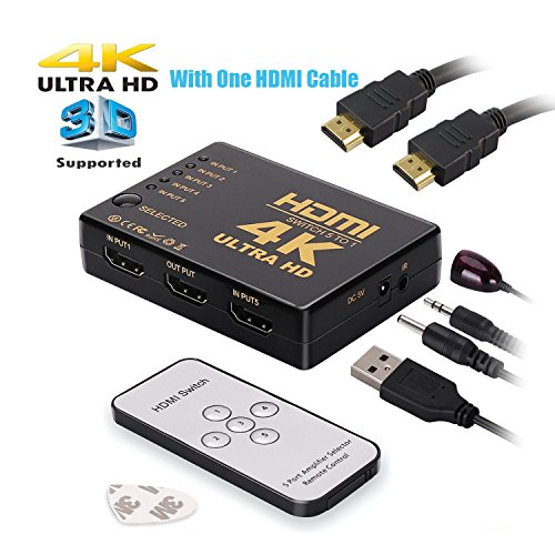 HDMI Switch,Hong Bo 5-Port HDMI Switcher,Support 4k,Full 1080p,3D with IR Remote (One HDMI Cable for (Ps3 Dvd Remote Control)