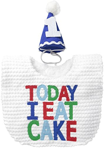 Mud Pie Baby Boys' Cake Smashing Gift Set with Bib and Hat, Multi One Size -