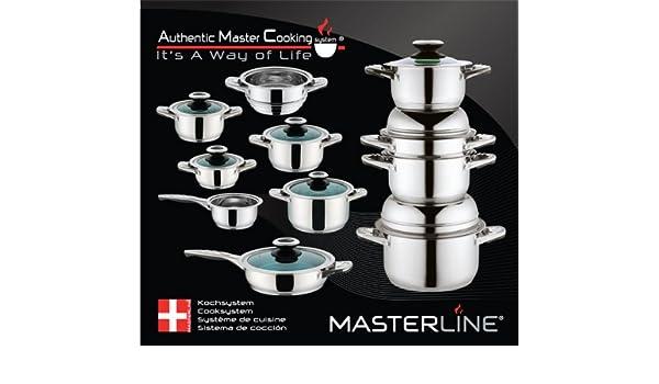 Masterline - Batería de cocina (12 piezas, acero inoxidable y cristal): Amazon.es: Hogar