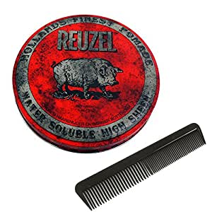 REUZEL RED High Sheen Water Based Pomade 4 OZ/113 g.(Free Comb)