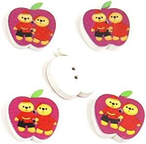 500 Pieces Sewing Sew On Buttons BT20220 Two Bears Apple Shape Wooden Wood Arts Crafts Notions Supplies Fasteners