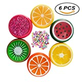 YLLG Fruit Slime Magic Crystal Clay Fluffy Slime Stress Relief Putty Toy Soft Rubber 6 Pack with Fruit Slices