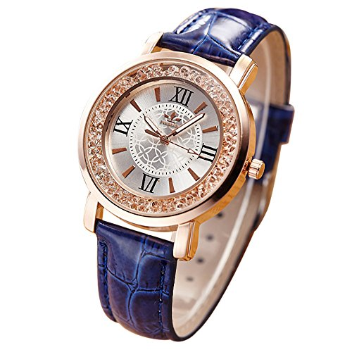 Watches For Women,POTO Quartz Women Watch Clearance On Sales Roman Numerals Rhinestone Diamond Ladies Watches Crystal Analog Aolly Leather Waterproof Wristwatch Casual Dress Womens Watches (Blue)