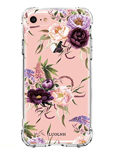 LUOLNH Compatible with iPhone 5 case,iPhone 5s Se Case with Flowers, Slim Shockproof Clear Floral Pattern Soft Flexible TPU Back Cover -3 Color Flowers