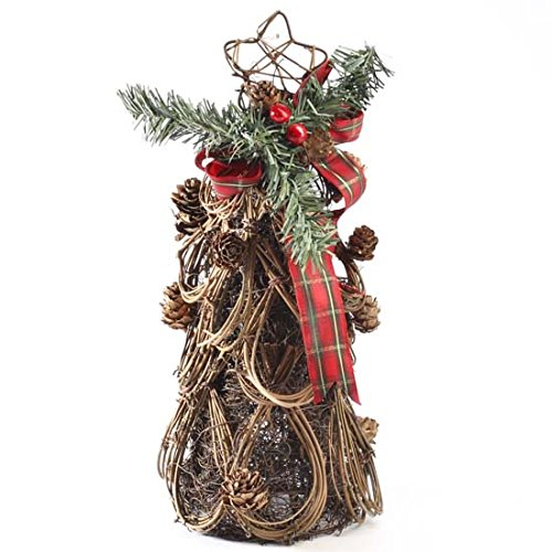 Lovely Natural Twig Grapevine Cone Christmas Tree with Festive Ribbon and Pineberry Accent