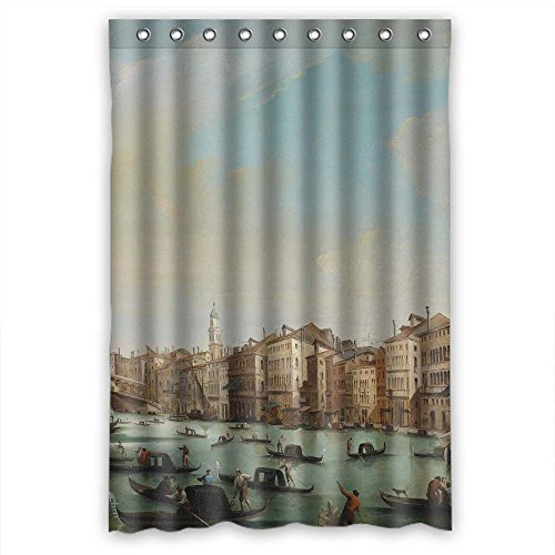 Mikmoki Polyester Bath Curtains Of Beautiful Scenery Landscape Painting For Her Bf Girls Valentine Teens. Easy Clean Width X Height / 48 X 72 Inches / W H 120 By 180 Cm(fabric)