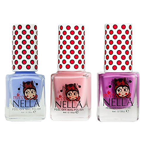 Miss Nella Little Poppet, Cheeky Bunny Glitter, Blue Bell Special Glitter Kids Nail Polish with Peel-off Water Based Formula by MissNella