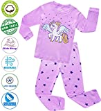 Girls Pajamas Clothes Sleepwear 100% Cotton PJS for Toddlers Children Kids Unicorn Style (Purple (Unicorn), 5)