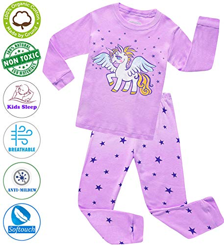 Girls Pajamas Clothes Sleepwear 100% Cotton PJS for Toddlers Children Kids Unicorn Style (Purple (Unicorn), 3T) -