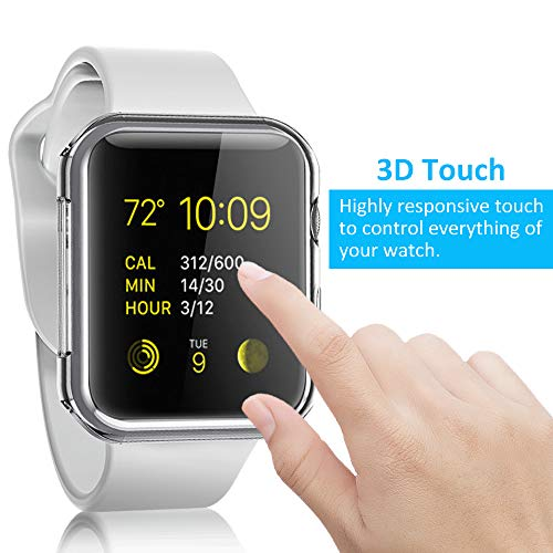 Pobon Compatible with Series 4 & Series 5 Apple Watch Case 44mm, Built-in Screen Protector [3D Touch] All-Around Protective Ultra Clear Soft TPU Case Fit for Apple Watch 4 & 5 44mm (Clear)