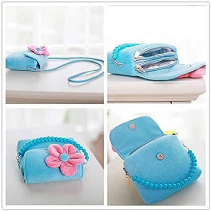 Dosige Kinder Handtasche M/ädchen Mini Kuriertasche Brustbeutel mit Plush Blumen 14x12x4 cm Blau