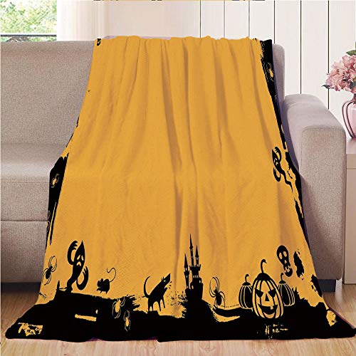 Blanket Comfort Warmth Soft Air Conditioning Easy Care Machine Wash House,Halloween,Black Framework Borders with Halloween Icons Cats Bats Skulls Ghosts Spiders Decorative,Yellow Black,47.25