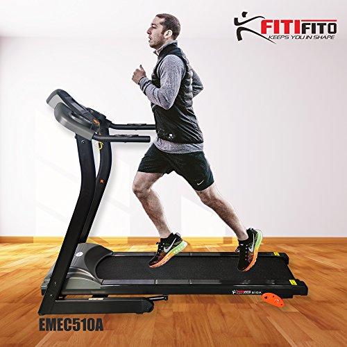 Fitifito 510A Living Laufband 3PS 12km/h mit LCD Bildschirm, 6 Zonen Dämpfungssystem, 25 Trainingsprogrammen - Klappbar, Schwarz
