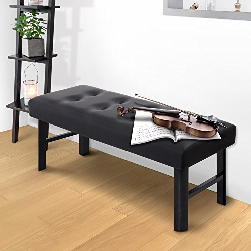 Olee Sleep 18″ Tall Upholstered Bed Bench Faux Leather, Black Review