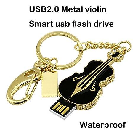 Unidad Flash USB de 64GB, Violín de Metal Cristal Brillante de Diamante Joyas Llavero USB 2.0 Pen Drive, Negro