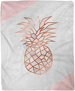 Adowyee 50x60 Inch Soft Decor Throw Blanket Geometric Rose Gold Pineapple Shape with Marble Texture Design for Packaging Wedding Warm Cozy Flannel Bed Blankets for Sofa Couch Chair Living Bedroom
