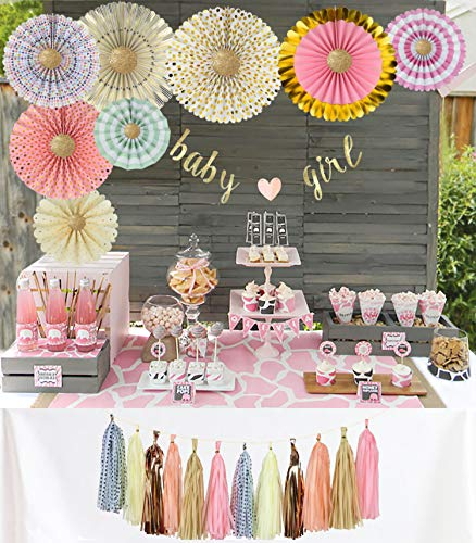 YARA Premium Baby Shower Decorations Kit for Girls| Pink and Gold Party Supplies| Paper Fans| Pink Party Decorations| Baby Girl Banner| Hanging| Tassels| Glitter Gold| Pink| Cream| Peach| Rose - Baby Girl Shower Decorations