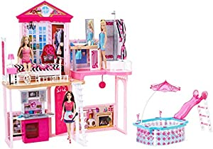 Barbie Dream House Pool Gift Set With Three Dolls 31 Inches Tall Toys Games
