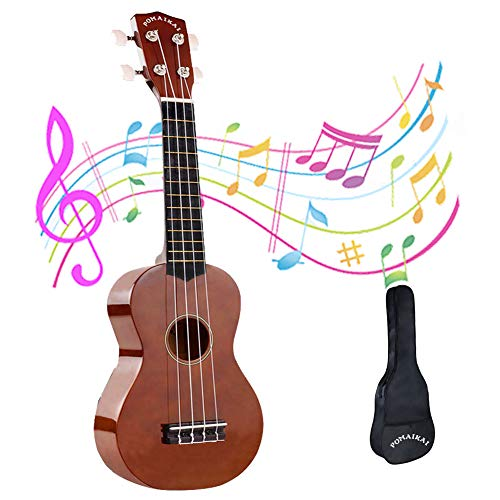 POMAIKAI Ukulele Wood Ukuleles for Kids Beginner Ukulele Pack Soprano Ukulele Starter Kid Guitar Hawaii Guitar 21 Inch Rainbow Uke with Gig Bag (Bright-Brown)