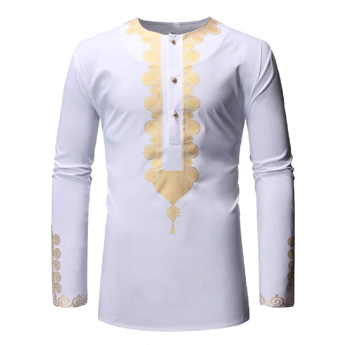 Zimaes-Men Floral Print Button Down Relaxed-Fit African Long-Sleeve Shirts