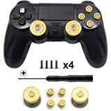 TOMSIN Gold Metal Bullet Analog Thumbstick & Bullet ABXY Buttons For PS4 Controller DualShock 4 DS4