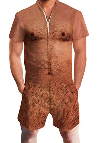 Men's Rompers Male Zipper Jumpsuit Shorts Funny Hairy Chest Printed One Piece Slim Fit Outfits Bro Short Sleeve Overalls