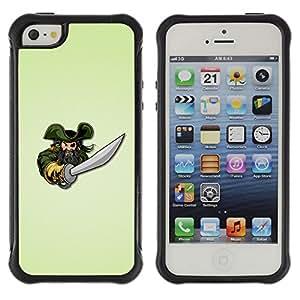 Be-Star único patrón Impacto Shock - Absorción y Anti-Arañazos Funda Carcasa Case Bumper Para Apple iPhone 5 / iPhone 5S ( Pirate & Sword )