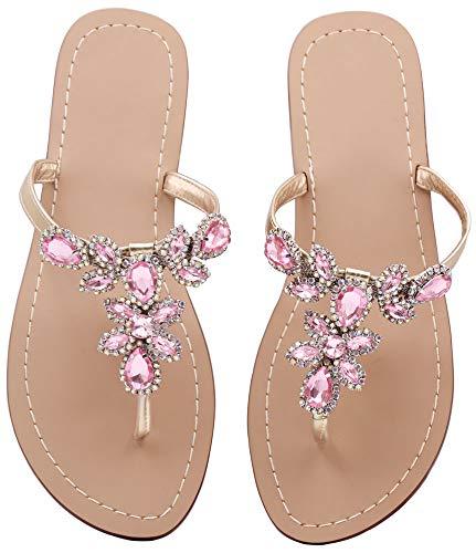 Rhinestones Ladies Sandals - Hinyyrin Rhinestone Sandals for Women Low Heel Sandals Leisure Beige Size 8