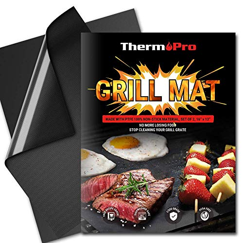 ThermoPro TP932 Grill BBQ Mat Non-Stick Reusable Heavy-Duty Oven Baking Mat Pad, Easy to Clean Barbecue Grilling Accessories- Set of 2 (Renewed) -