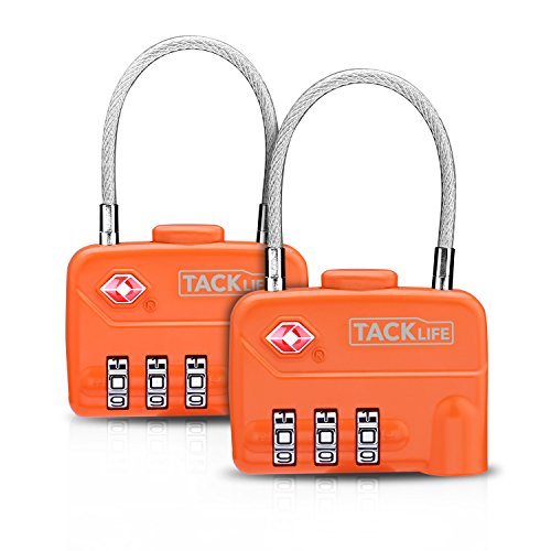 Luggage Locks, TACKLIFE HCL1A Cable Locks, TSA Approved Travel Locks, Flexible Locks, 3Digit Combination Locks for Gym, School, Locker, Outdoor, Fence, Suitcase & Baggage - Orange by TACKLIFE