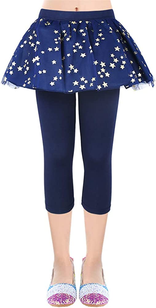 OioTuyi Stars Girls Leggings Skirt 3//4 Capri Skirt Ruffle Stretchy Printing Skirtpants for kids 3-10 Years