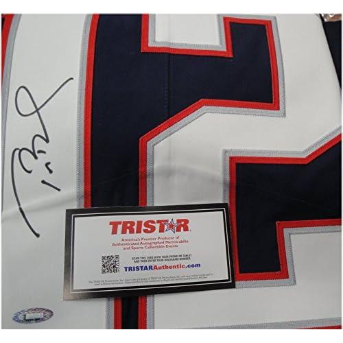 9dcb69a7e Tom Brady Hand Signed Autograph Auto Blue Authentic Jersey Patriots Tristar  COA
