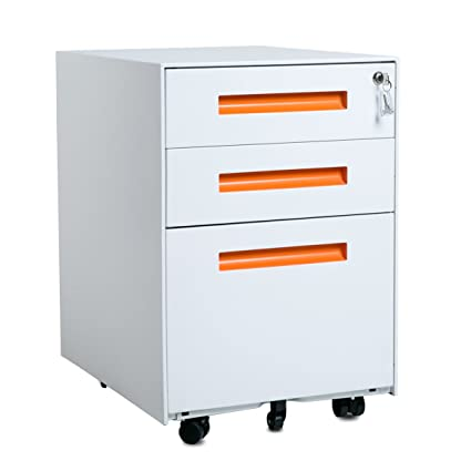 Merax Metal Solid Mobile Storage 3 Drawer File Cabinet With Keys, Fully  Assembled Except Casters