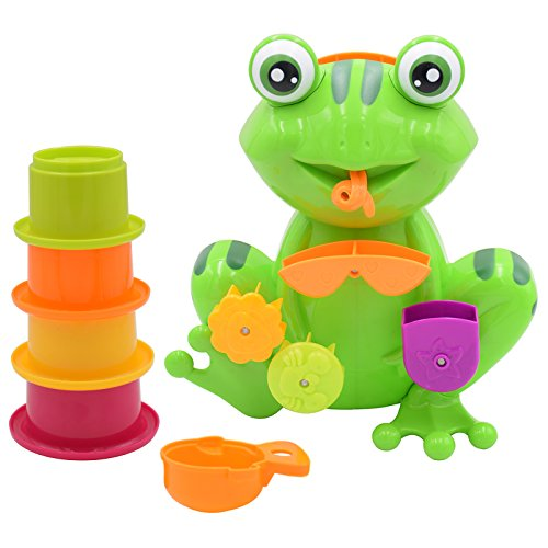Seprovider Bath Toy, Green Frog Bathtime Fun Toys with 4 Spillers Stacking Cups for Toddlers and Kids, Interactive Bathtub toys ()