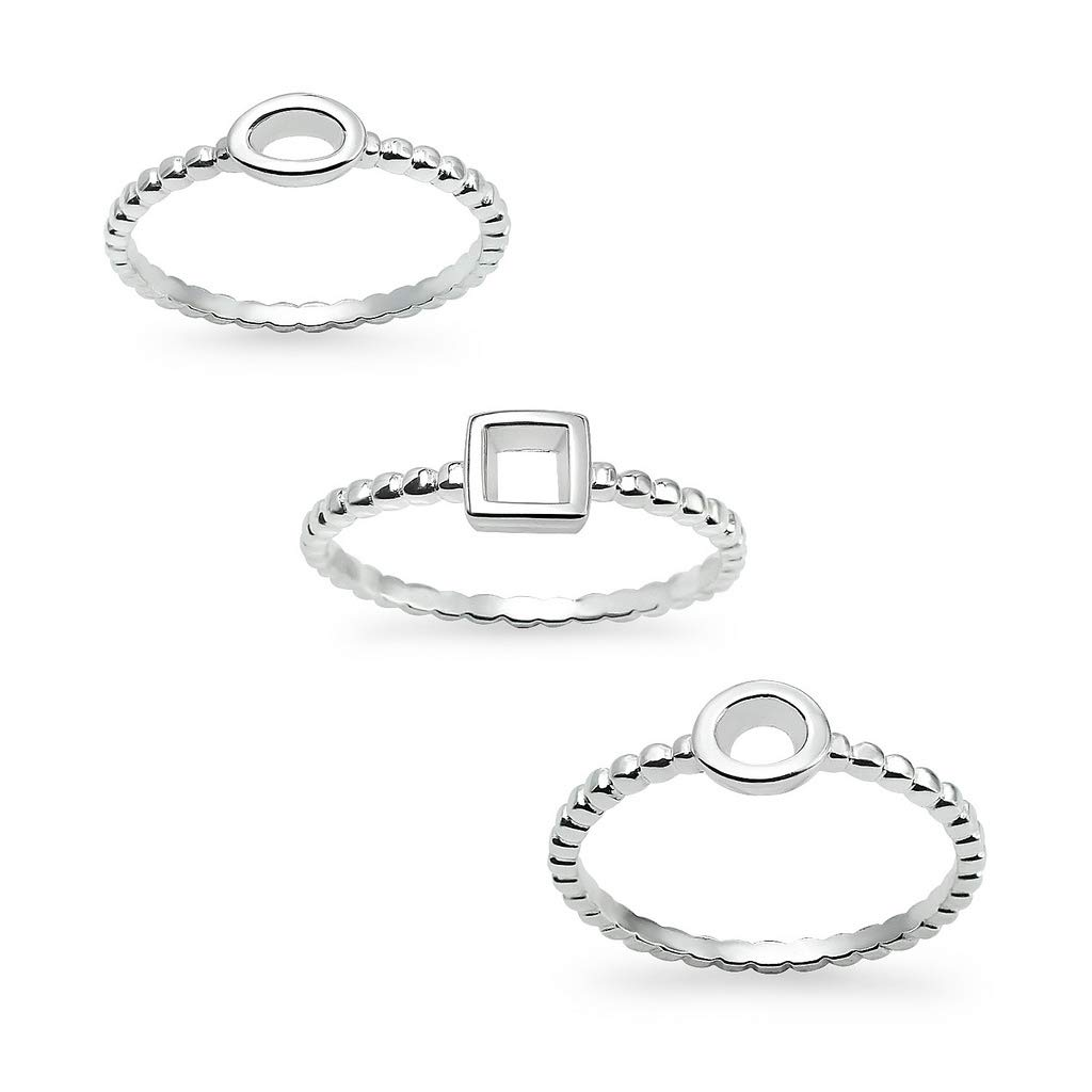 Sterling Silver Geometric Oval Square Round Midi Ring For Women Sizes 5-10